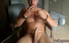 Horny bear stroking on cam