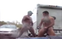 Bears jerking off outdoor for each other