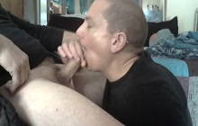 Sexy hunk gives a blowjob