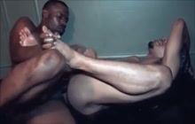 Two black studs bareback fucking