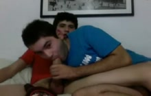 Latino twink couple taking turns sucking each other up