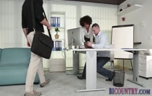 Studs in bisexual office threeway