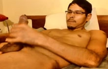 Dude strokes big cock on webcam