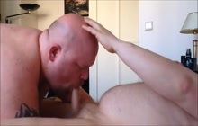 Guy bets sucked by bald bear