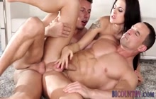Muscled bisexual hunk cum sprays his abs