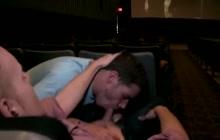 Public gay blowjob in the cinema