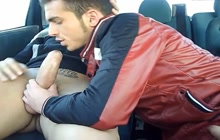 Horny gay lovers making love in the car