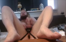 Bear boyfriend talks dirty and plays with his cock