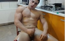 Sexy gay dude jacking off on webcam