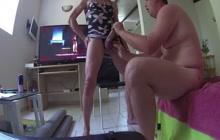 Crossdressing boyfriend gets a BJ
